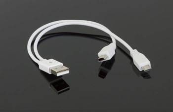 AK264B ADAPTER KABEL USB MIKRO MINI USB 2w1 BIAŁY